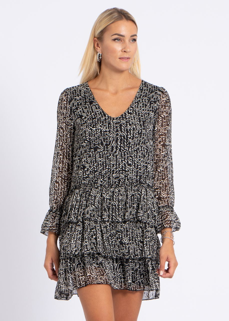 Kleid mit Volantsrock und Glitzer, schwarz/weiß