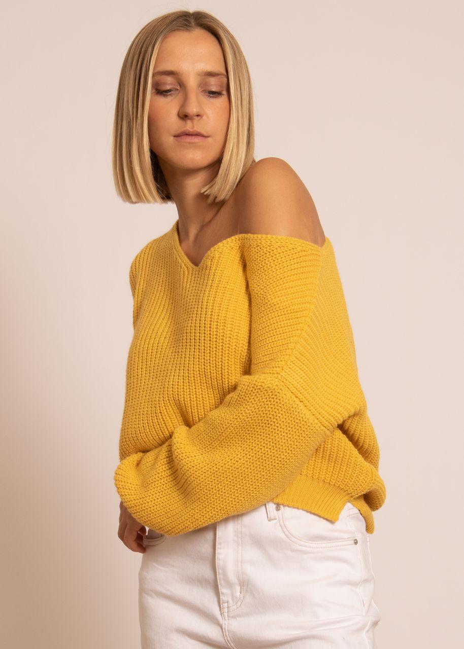 Rippen-Pullover mit V-Ausschnitt, gelb