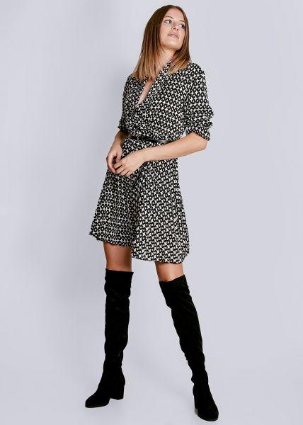 Kleid mit Plisséerock, schwarz/weiß