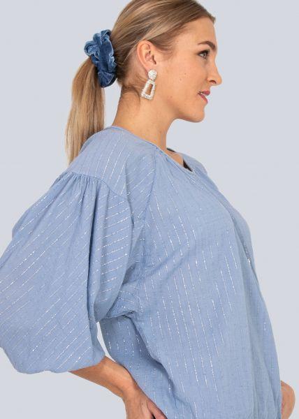 Baumwoll-Bluse mit Glitzerstreifen, blau