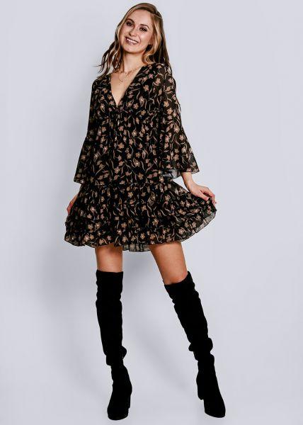 Hängerchenkleid mit tiefem V-Ausschnitt und Blumenprint, schwarz