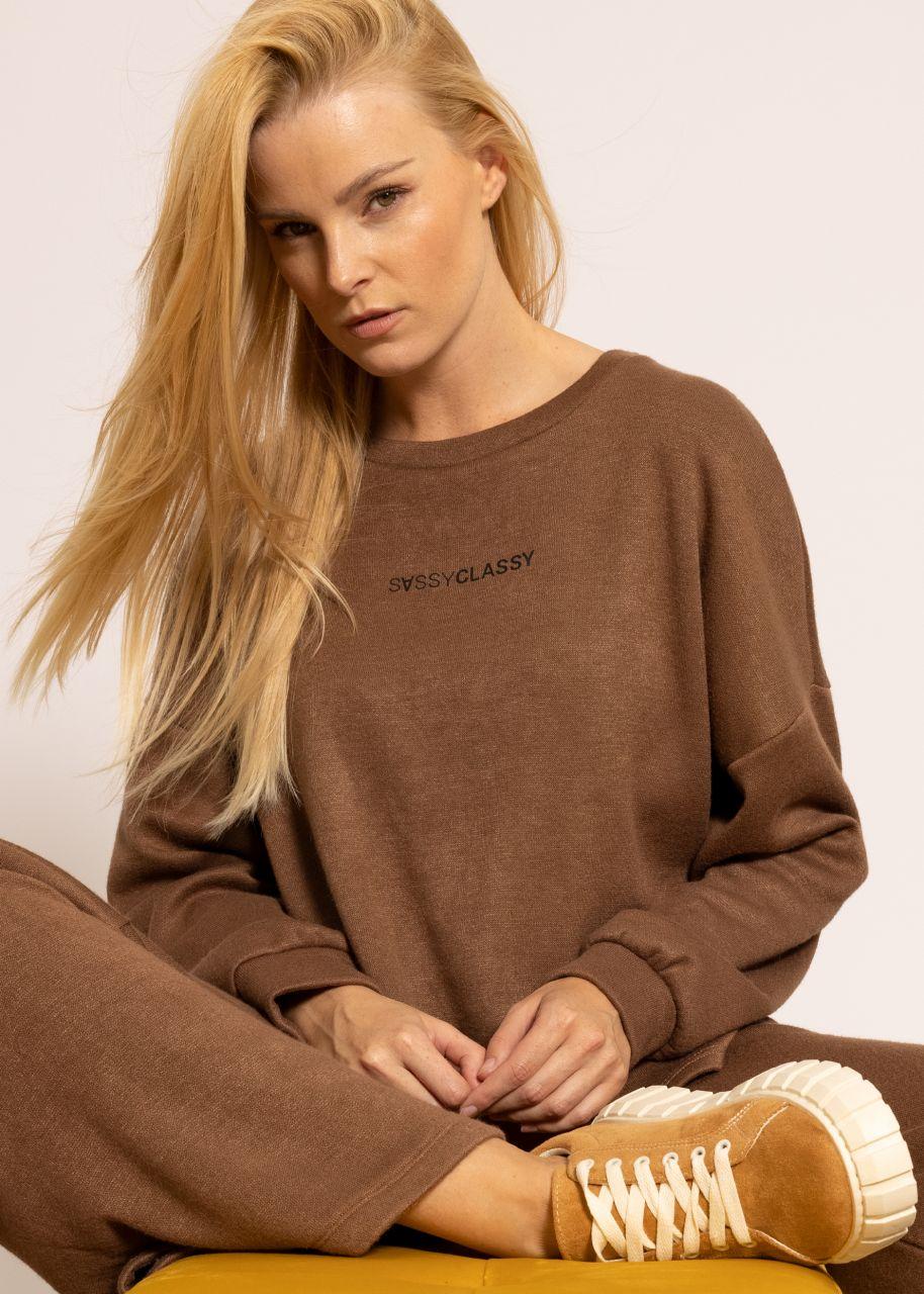 Ultra weiches Sweatshirt mit Logo-Print, braun