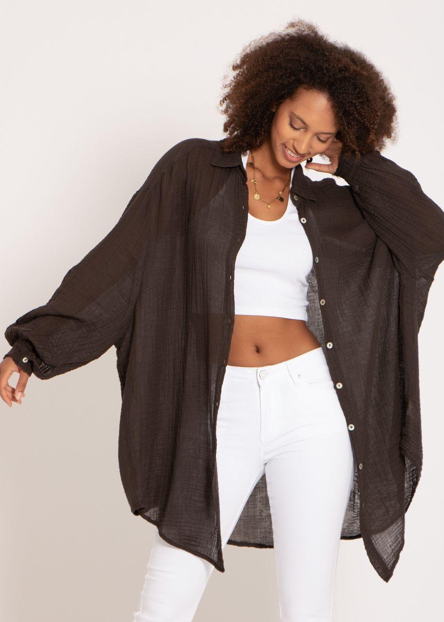 Transparentes, ultra oversize Blusenhemd, schokobraun