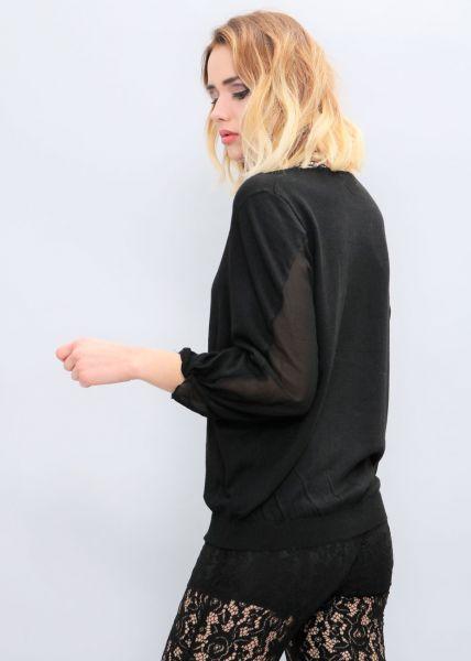 Pullover mit Chiffon, schwarz