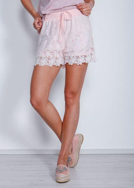 Shorts aus Spitze, rosa
