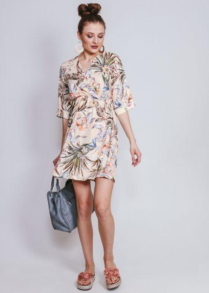 Kleid mit Blumenprint in Wickel-Optik, beige