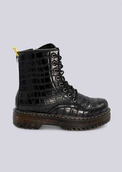 Kroko-Schnür-Boots mit Plateau, schwarz