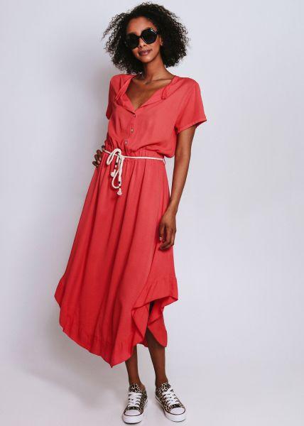 Hemdblusenkleid mit Volant, rot