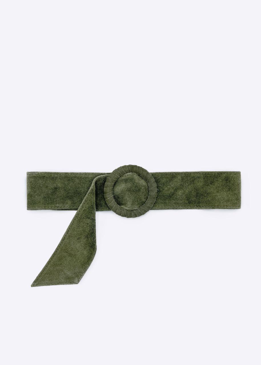 Taillengürtel in Veloursleder, khaki