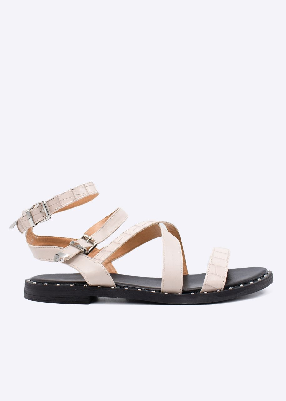 Sandalen in Kroko-Optik, beige