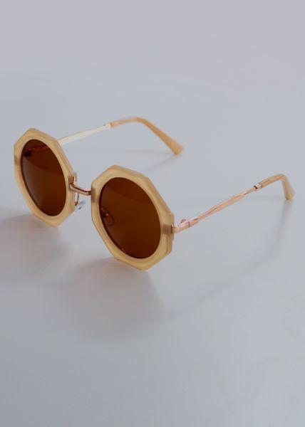 Eckig runde Sonnenbrille, beige