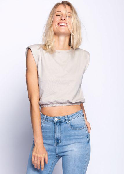 Crop-Shirt mit Schulterpolster, beige