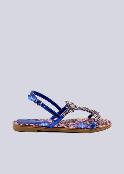 Sandalen mit Glitzersteinen, blau