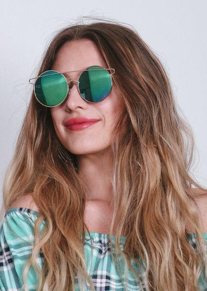Runde Sonnenbrille mit grün/blau verspiegelten Gläsern