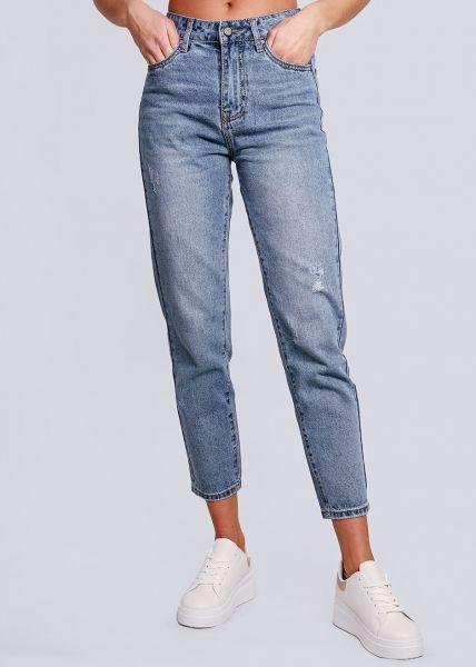 Midwaist Jeans, leicht destroyed, blau