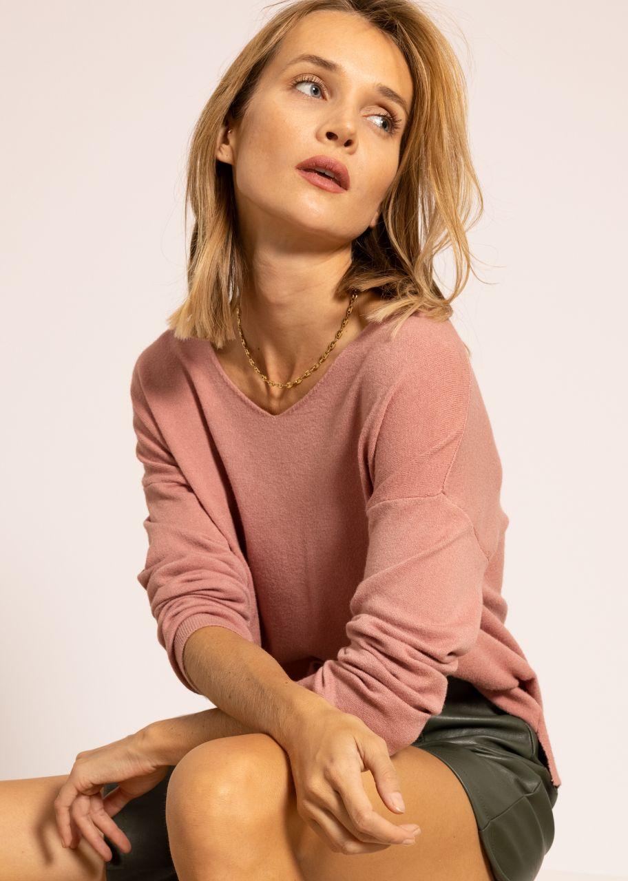 Oversize Pullover mit V-Ausschnitt, rosa