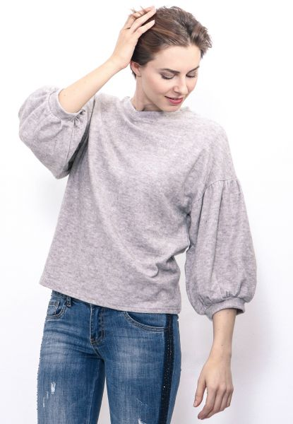 Softes Sweatshirt mit Ballonärmel, grau