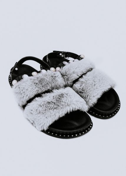 Sandalen mit Fake Fur, grau