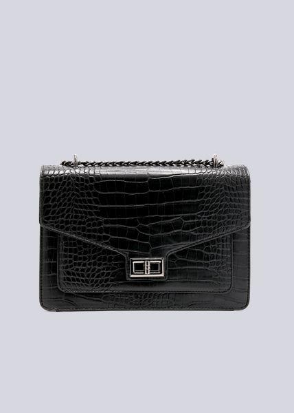 Überschlagtasche in Kroko-Optik, schwarz