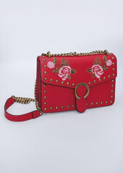 Umhängetasche mit aufgestickten Rosen, rot