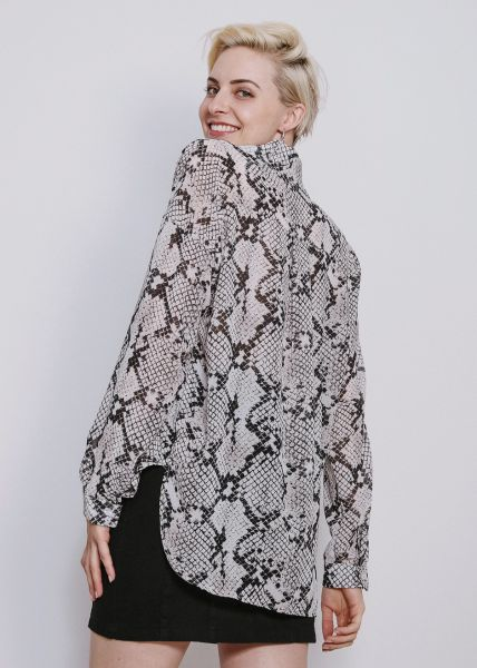 Chiffonbluse in Snake-Print