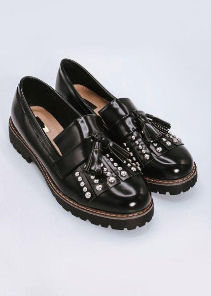 Loafer mit Nieten und Tassels, schwarz