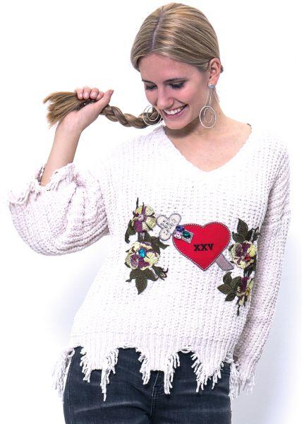 Oversize Chenille-Pullover, wollweiß