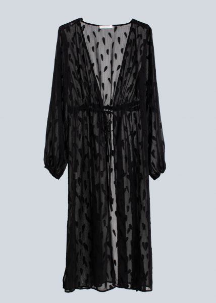 Semi-transparenter Cardigan, schwarz