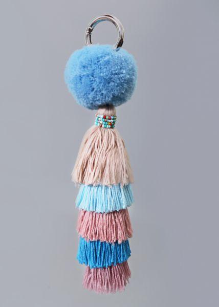 Taschen-Anhänger mit Pompoms, blau