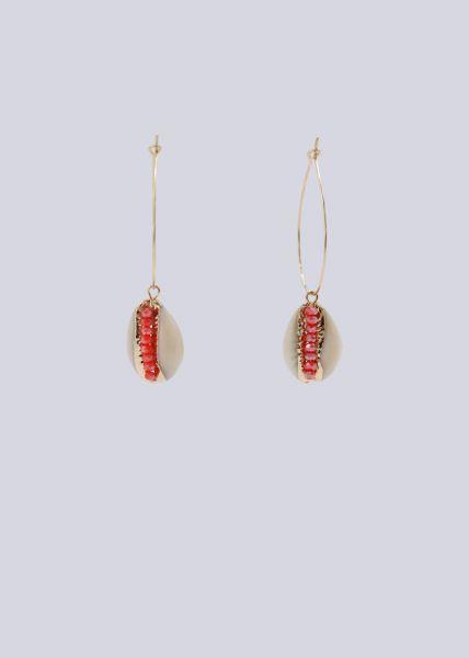 Creolen mit Muschel und roten Schmucksteinen, gold
