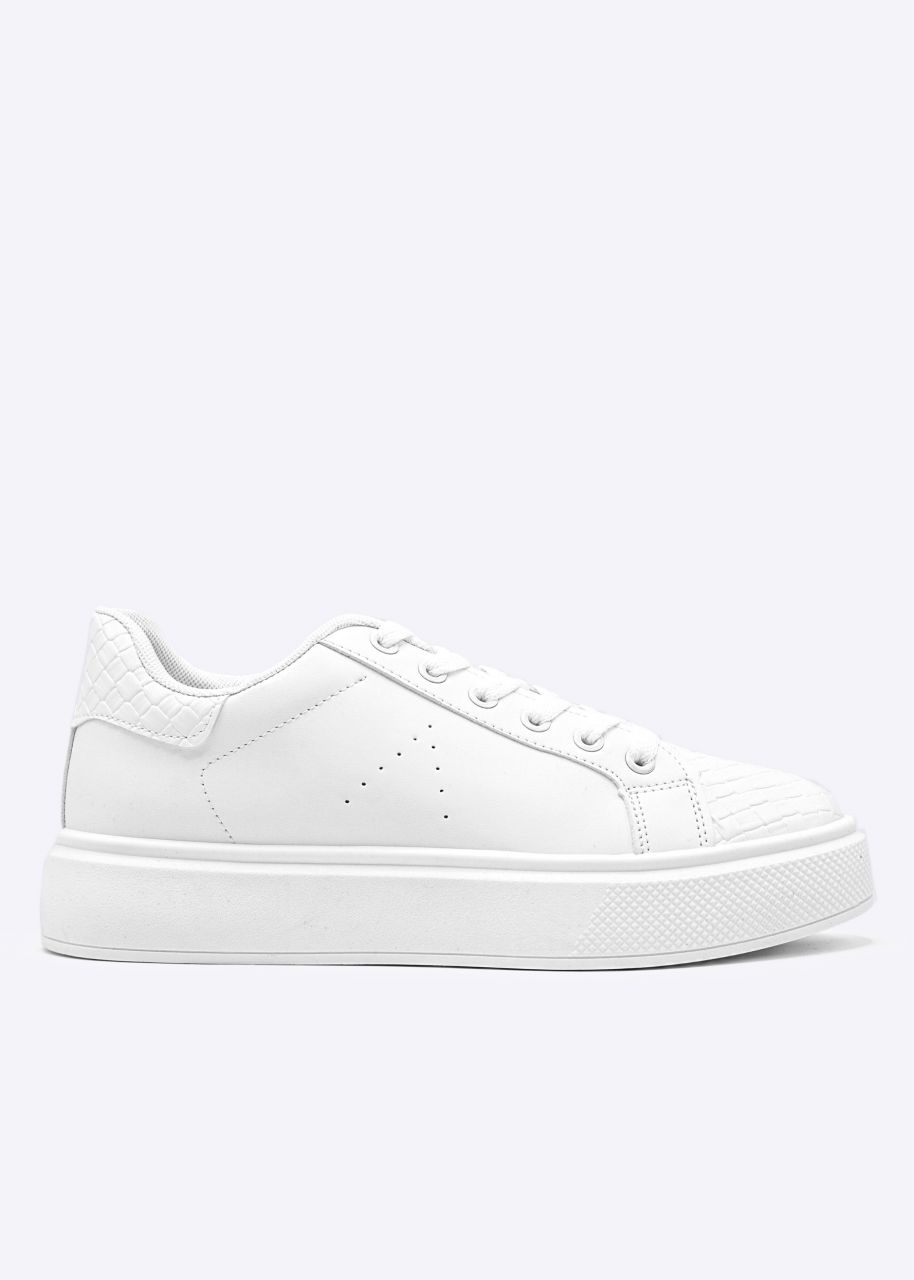 Sneaker mit Web-Optik Details, weiß