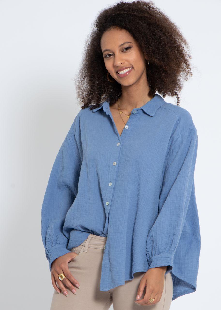 Ultra oversize Blusenhemd, kürzere Variante, blau