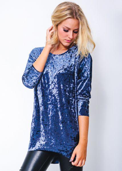 Oversize Samtshirt, blau