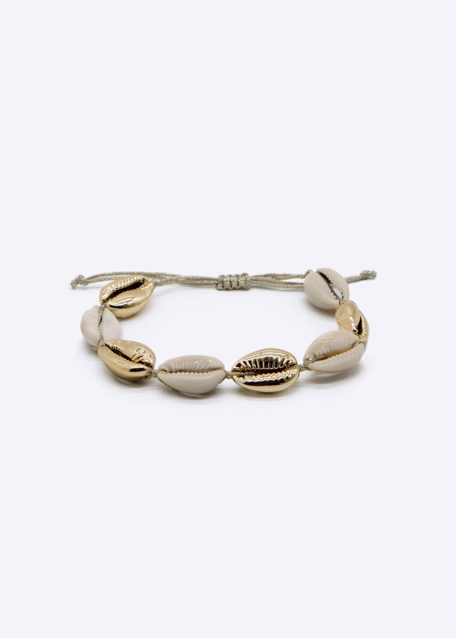 Muschelarmband, beige/gold