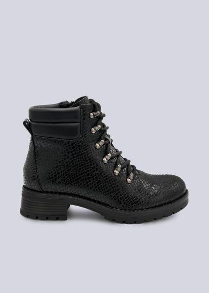 Trekking Boots in Snake-Optik, schwarz