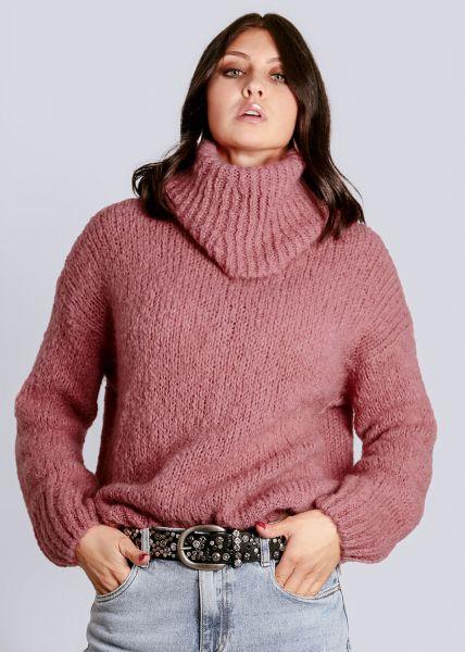Flauschiger Rollkragenpullover, rosa