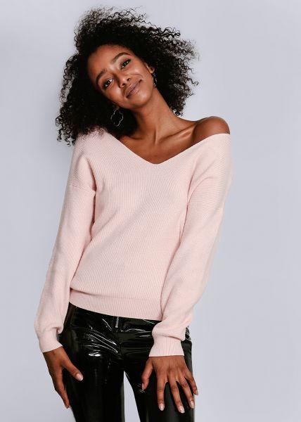 Pullover mit lässigem V-Ausschnitt, rosa