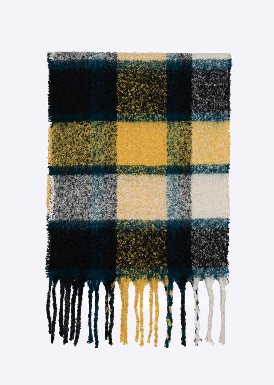 Karo-Schal, schwarz/gelb/grün