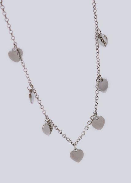 Halskette mit Herzen, silber
