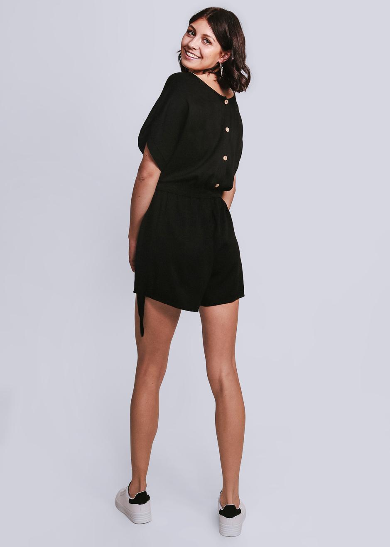 oversize jumpsuit mit knopfverschluss, schwarz