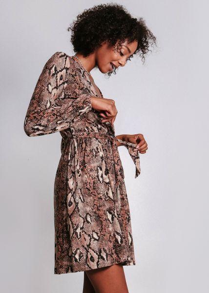 Jerseykleid in Snake-Print, braun