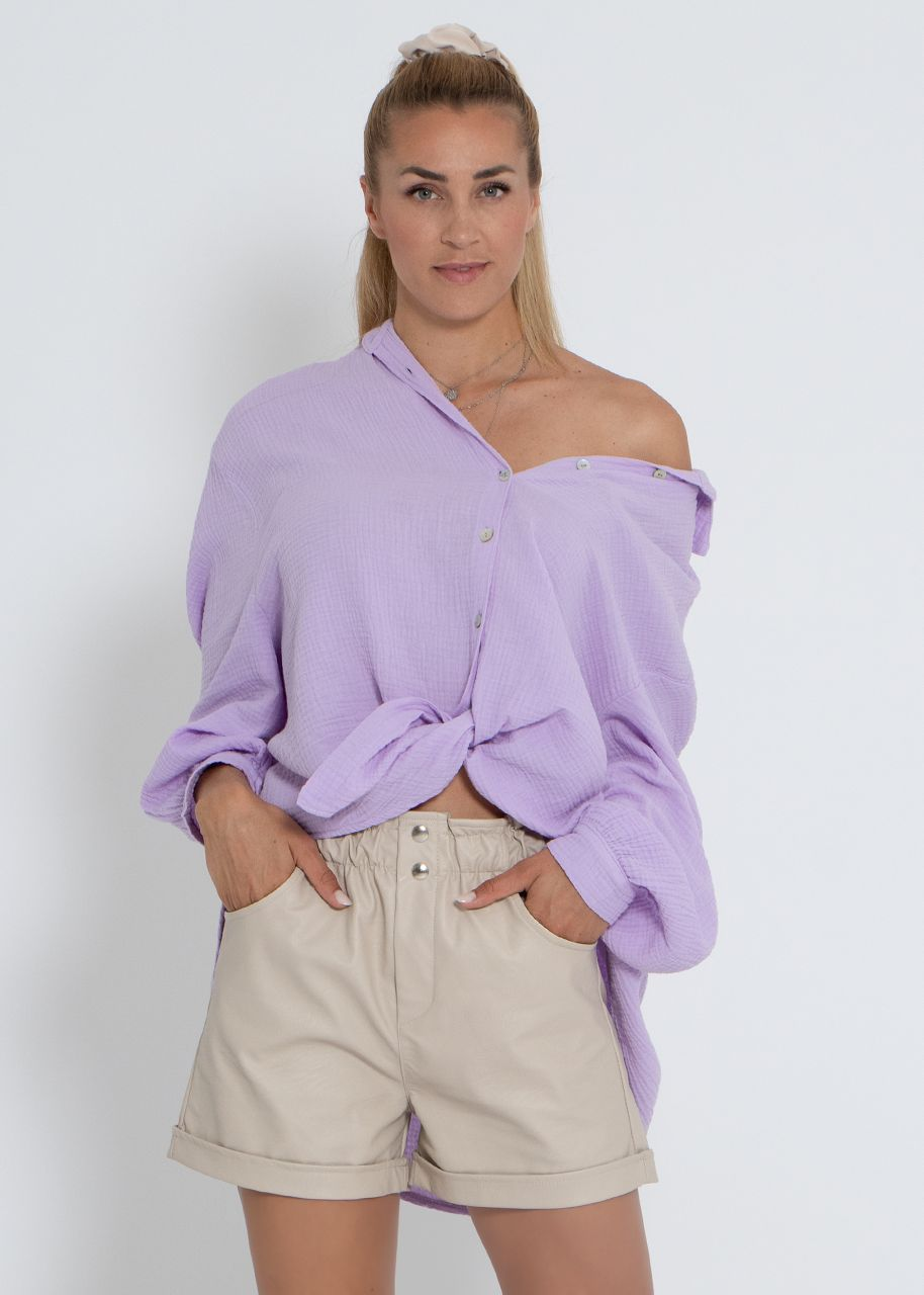 Ultra oversize Blusenhemd, kürzere Variante, flieder