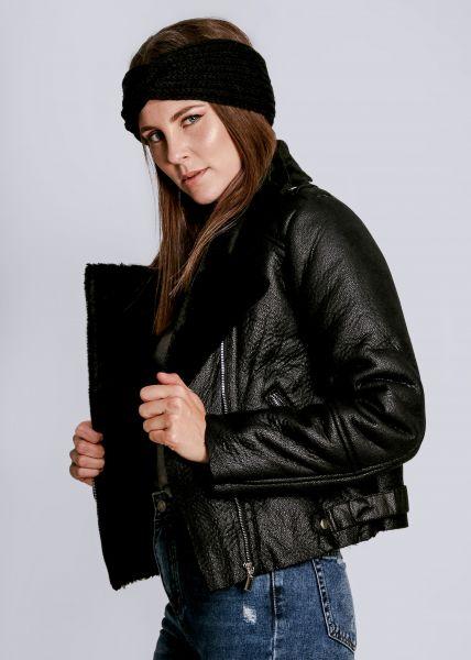 Biker-Jacke mit Kunstfell, schwarz