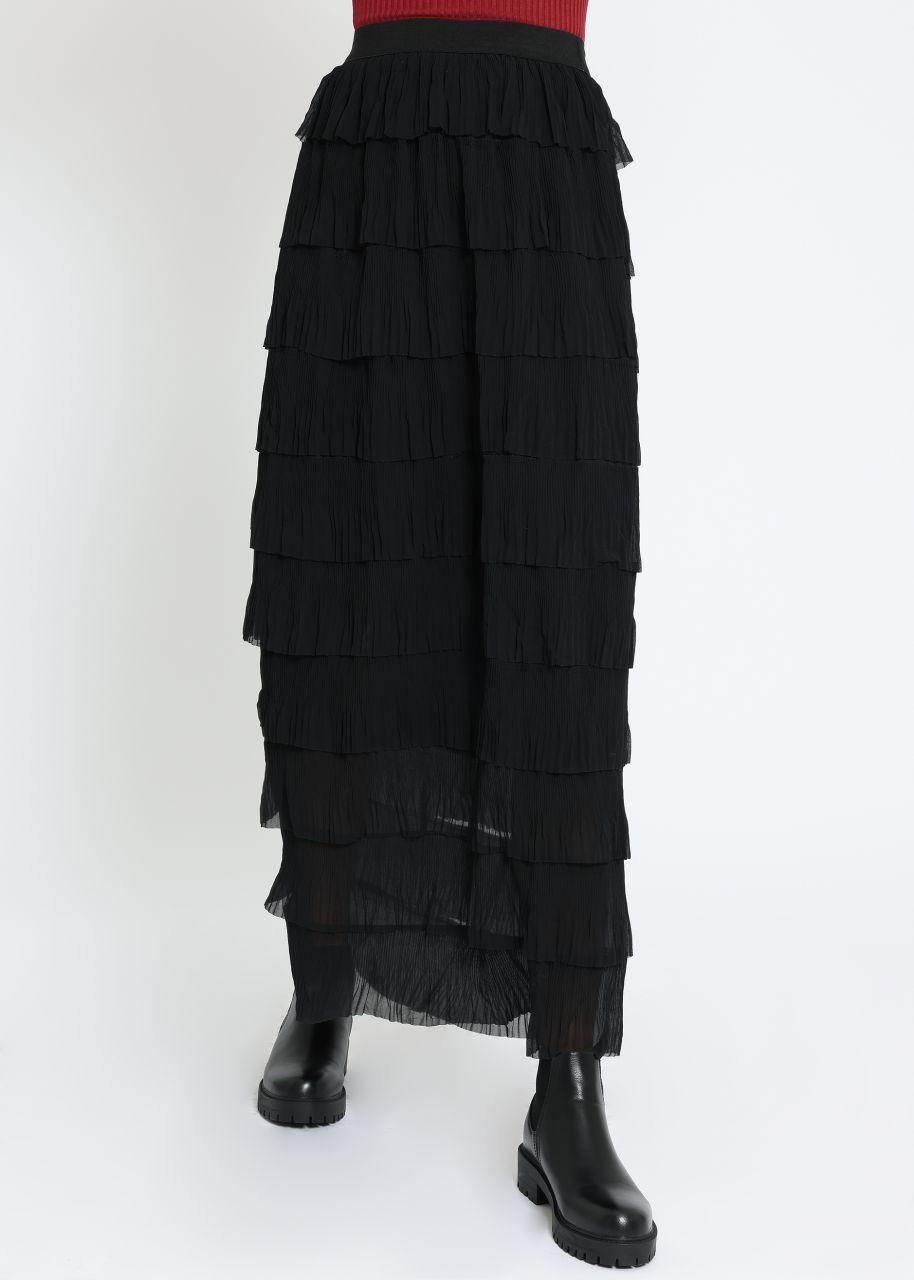 Maxi Tüllrock mit Volants, schwarz