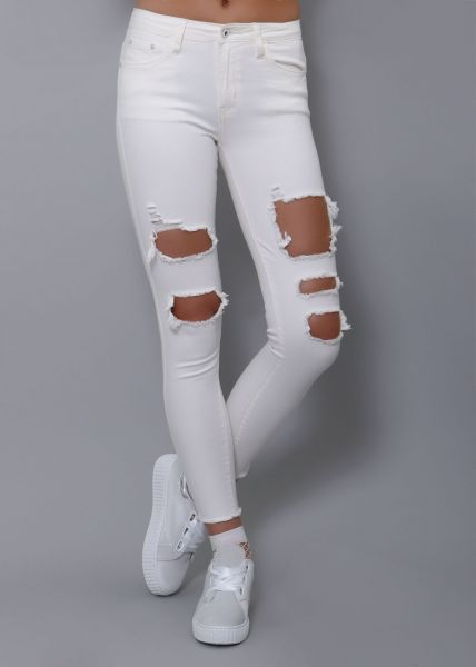 Destroyed Jeans, weiß