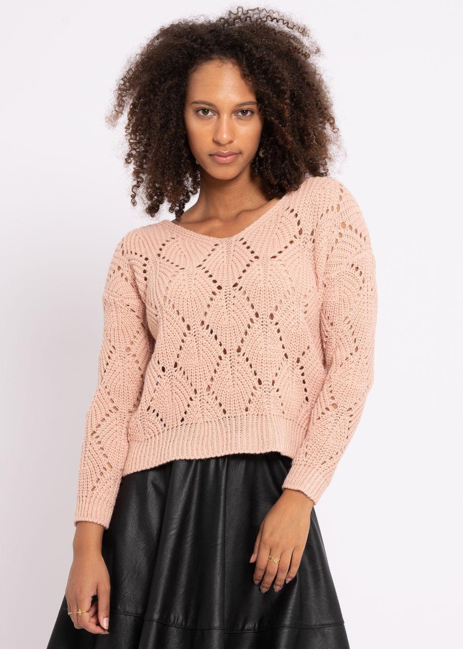 Pullover mit Lochmuster, rosa