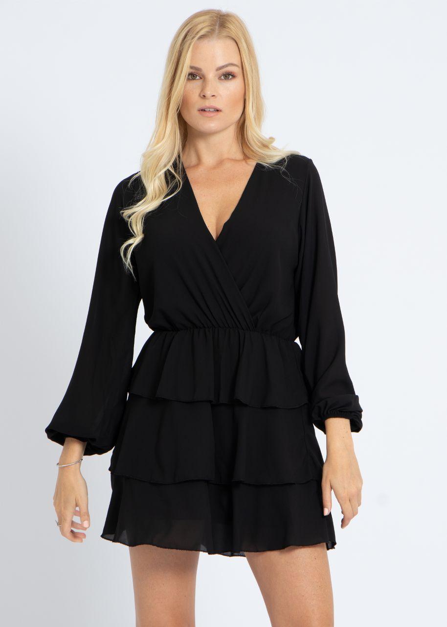Volants-Kleid, schwarz