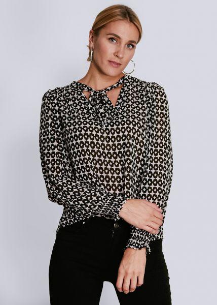Bluse mit Print, schwarz/weiß