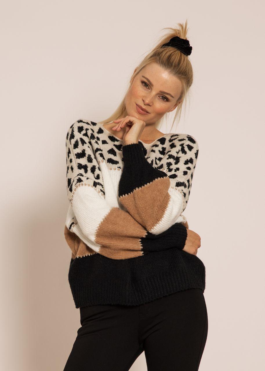 Oversize Pullover mit Leo-Print, schwarz/camel/offwhite