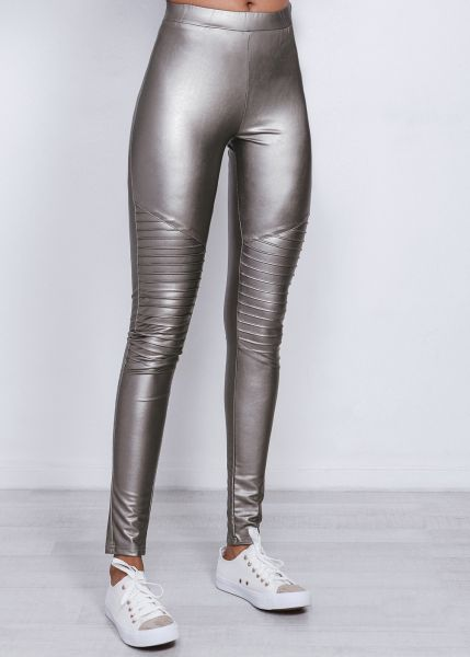 Lederleggings, silber metallic